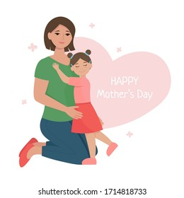 Mom with daughter cuddling. Mother and daughter hugging. Happy mother's Day greeting card. Vector illustration in flat style