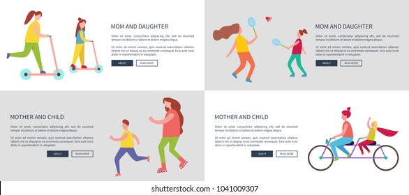 Mom and daughter, mother with child vector web posters with tandem bicycle, jogging people, playing badminton and riding scooter