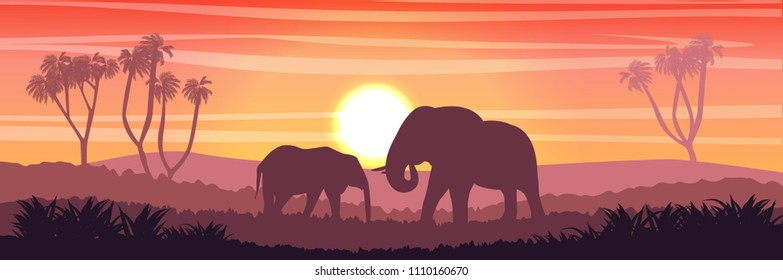 Mom elephant and her young in the African savanna at sunset. Doum palms. Silhouettes of animals and plants. Realistic vector landscape. The nature of Africa. Reserves and national parks.