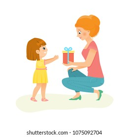 Mom gives a gift to her daughter.Vector illustration. Isolated on white background