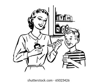 Mom Giving Medicine To Son - Retro Clipart Illustration