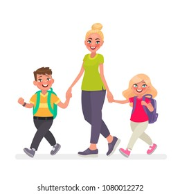 Mom goes with the kids to school. Primary school children and mother together. Vector illustration in cartoon style