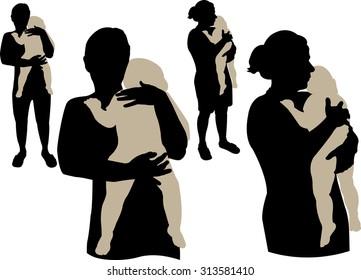Mom holding sleepy baby vector silhouette