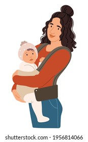 Mom holds the baby in a sling.Newborn Baby child in Sling feeling love and protection from his mother. Family, lifestyle concept. Happy Mother's Day.