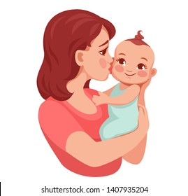 mom holds the infant in her arms and kisses him. baby's happy. mom's kiss