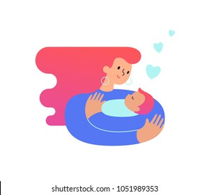Mom hugging and cuddling her baby boy or girl and nursing him. Mother embracing newborn son and expressing love and care. Modern illustration could be used as logo symbol for banner or website. Vector