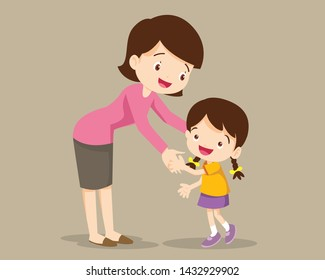 Mom hugging her child girl and talking to her. Mother embracing little daughter and expressing love and care.mom and child.