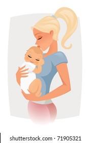 Mom hugs and kiss her baby