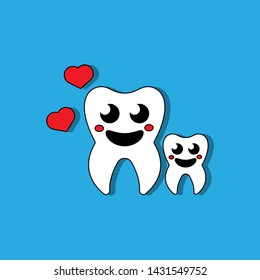 mom & kid tooth character.happy tooth, heart and smile.cartoon style
