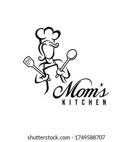 Mom kitchen logo vector illustration with modern typography. Chef mascot logo.