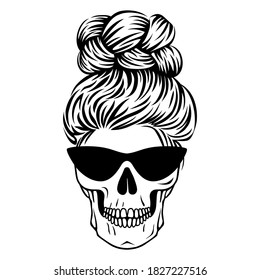 Mom life skull. Female skull with glasses with hair. Boho print in outline style. Vector Messy bun.