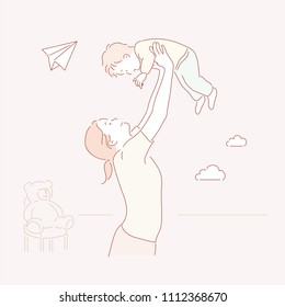 Mom is lifting the child up high. hand drawn style vector doodle design illustrations.