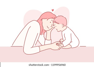 Mom is looking at the baby with love. hand drawn style vector design illustrations.