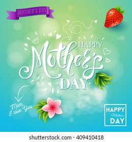 Mom I love you mothers day text and graphic elements surrounded by leaves and flowers in square with blue and green gradient background