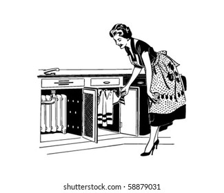 Mom Opening Cupboard - Retro Clip Art
