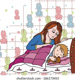 Mom puts the baby to sleep. vector ilustration