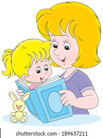 Mom reading a book to her infant daughter