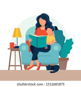 Mom reading for kid. Family sitting on the chair with book. Cute vectorillustration in flat style