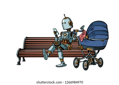 mom robot resting in the Park with a baby stroller. motherhood. Pop art retro vector illustration kitsch vintage