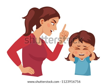 Mom Scolds Daughter Mother Yelling Child Stock Vector ...