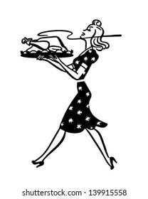 Mom Serving Turkey - Retro Clip Art Illustration