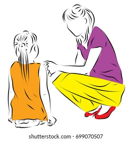 Mom sits on the floor, mum squatting next to her. Color vector illustration on the relationship of mom and daughter.