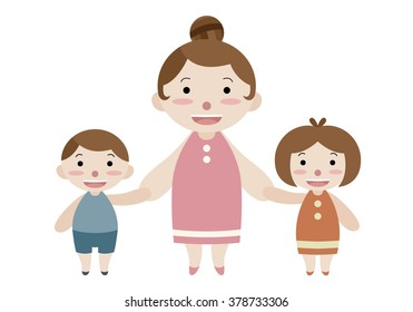 mom son and daughter cartoon vector