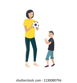 Mom and son playing football or soccer. Mother and boy child performing sports game activity. Cute cartoon characters isolated on white background. Colorful vector illustration in flat style