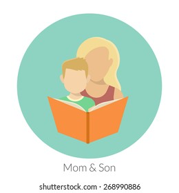 Mom with son are reading a book. Flat modern illustration