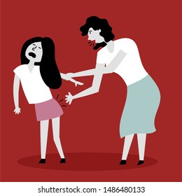 Mom spanks daughter on the backside. The child screams in pain. Beating children. Child abuse. Editable vector illustration