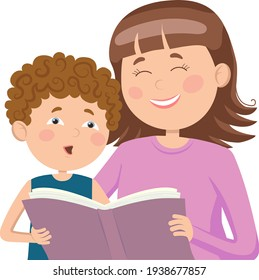 Mom spends her free time with her son, teaches him to read a book. Vector illustration in a flat style. Suitable for web design, children's books, Mother's Day greetings.