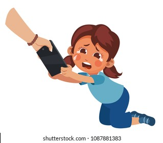 mom takes a smartphone from her daughter. Children's dependence on gadgets. Punishment of a girl. Internet addiction. Parental upbringing
