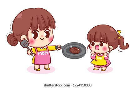Mom teaching her daughter how to cook food cartoon illustration