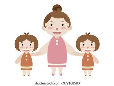 mom and twin girls cartoon vector