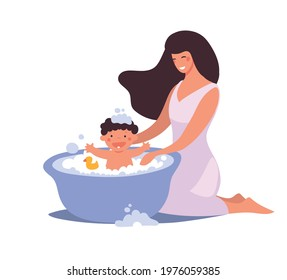 Mom washes the baby in the bathroom. The kid bathes and washes with foam, bubbles and duck. Flat cartoon vector illustration isolated on white background.