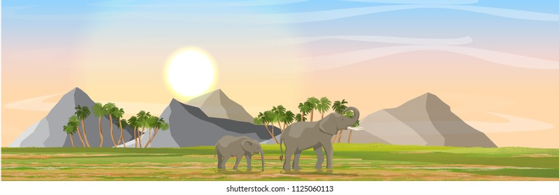 Mom and young elephants in African savannah. Mountains on the horizon. Realistic vector landscape. Nature and animals of Africa. Reserves and national parks.