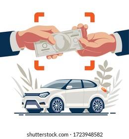Der Zeitpunkt des Kaufs des Autos durch den Käufer und der Transfer von Geld von Hand auf Hände vor dem Hintergrund des Fahrzeugs.