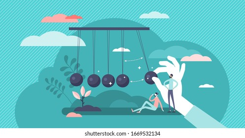 Momentum energy concept, flat tiny person vector illustration. Impulse for action and moving forward with goals metaphor. Symbolic motivation push impact and inner drive for success. Inertia force.
