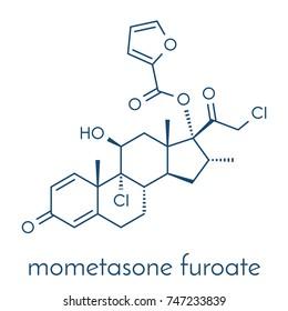Mometasone furoate steroid drug molecule. Prodrug of mometasone. Skeletal formula.