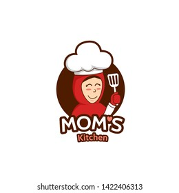 Mommy mom kitchen logo with female Muslim mother mascot character illustration holding spatula wears hijab