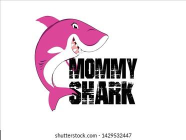 mommy shark pink t shirt print vector slogan with cartoon shark