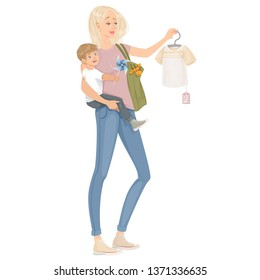 Mommy and son shopping together. Sales. Isolated vector illustration