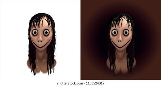 Momo. Scary Face Momo monster for Halloween decoration in vector. Call Momo. Cute female monster, Halloween personage isolated on white.