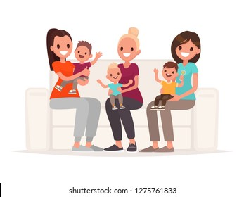 Moms are holding babies in their arms while sitting on the sofa. Communication of young mothers. Vector illustration in flat style