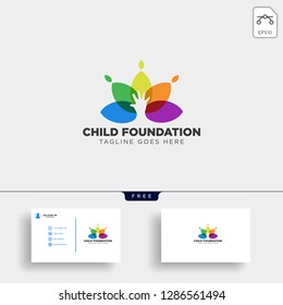 Momy and child, children care logo template vector isolated