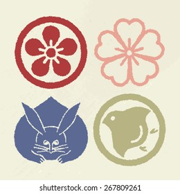 Mon Japanese Emblem Pop color Vector symbol Stamp like version