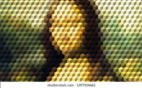 Mona Lisa Drawing With 3D Cube