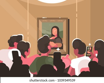 Mona Lisa painting at exhibition in picture gallery. Group of visitors photographing a work of art. Vector illustration