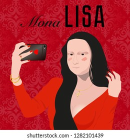 Mona Lisa with phone