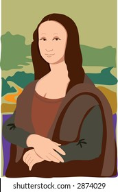 The Mona Lisa in a very simple style